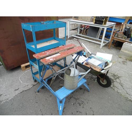 19 - Work mate, galvanized wheelbarrow etc...