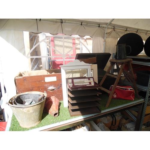 21 - Vintage storage box, galvanized buckets, storage racks etc...