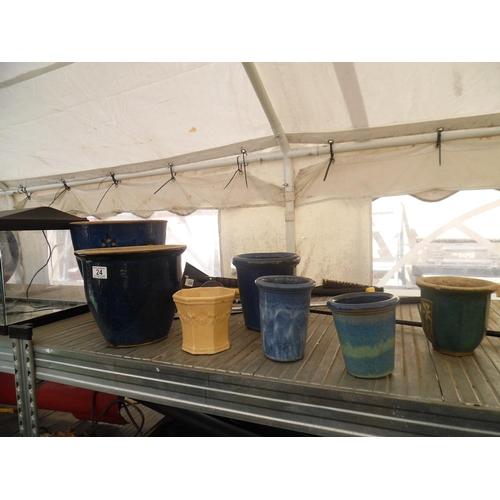 24 - Qty garden pots...