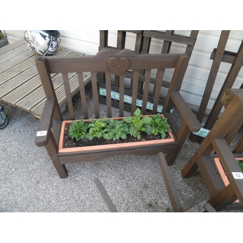51 - Planted bench planter...