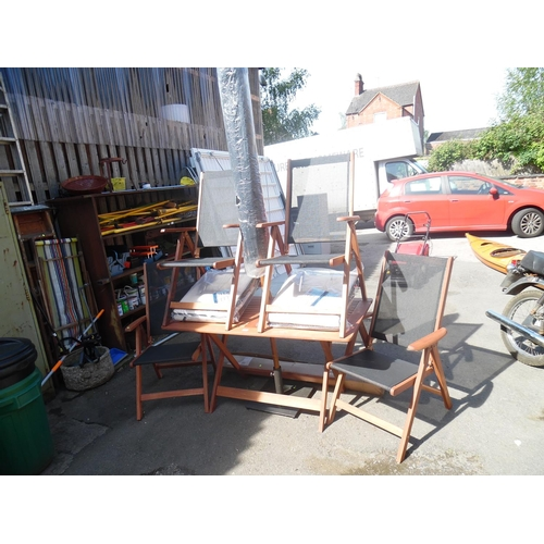 6 - Wooden garden table, 4 chairs, parasol etc...
