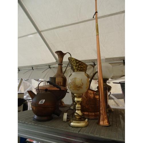 32 - Qty copper & brassware...