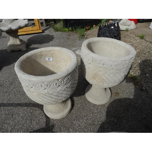 27 - Pair Mayan urns...