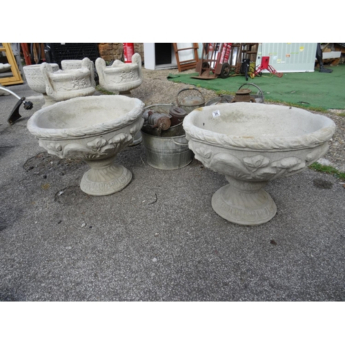 34 - Pair large floral urns...