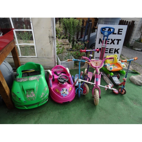56 - Qty scooters, ride on toys etc...