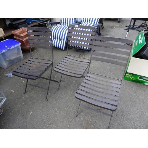 6 - 3 Folding metal garden chairs...