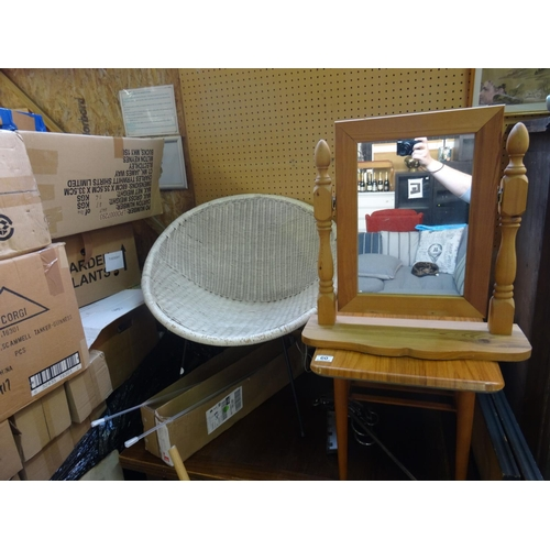 60 - Wicker chair, mirror & table...