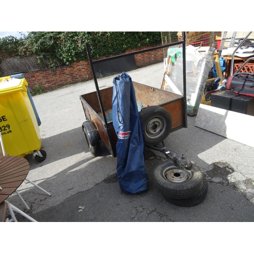 17 - Trailer with tarp & 3 spare wheels...