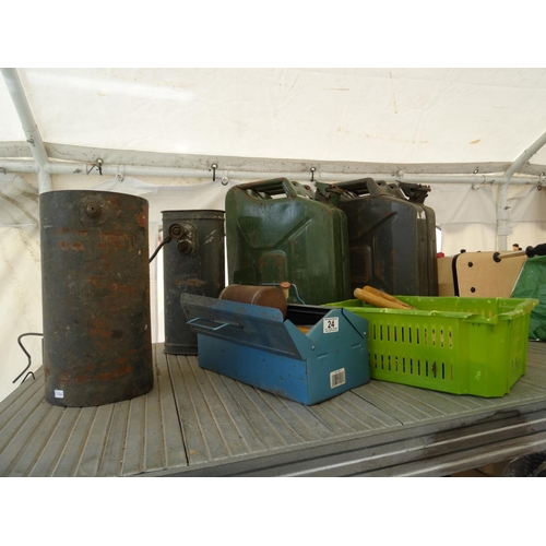 24 - Jerry cans, tools etc