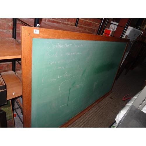 51 - Large oak frame chalk board...