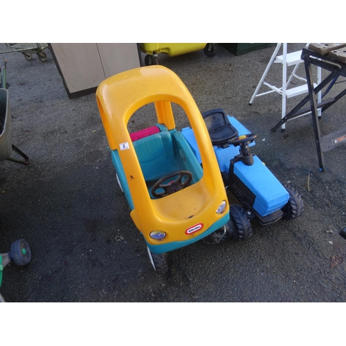 8 - Little tikes push along car & tractor...