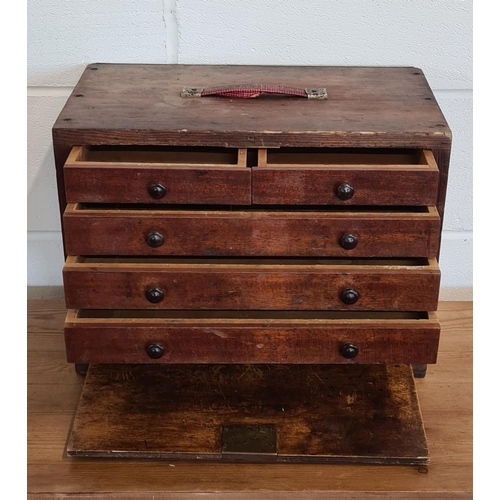 309 - Vintage drop front multi draw wooden engineers tool chest 35x47x26 cm