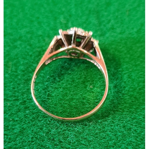 8 - 9ct gold illusion set diamond cluster ring 2.5g, London hallmark, size M
