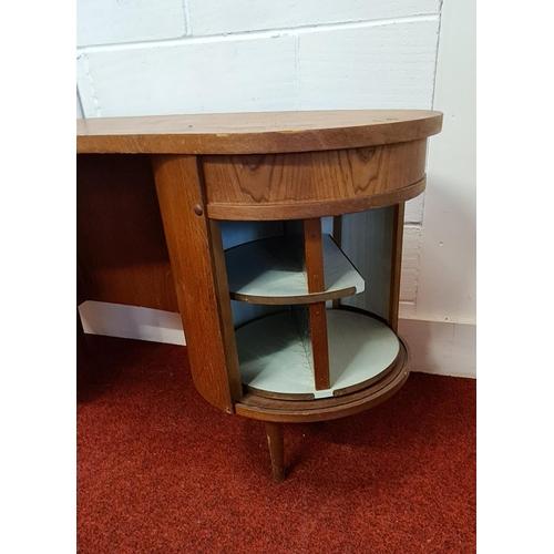 99 - Kai Kristiansen kidney desk, model no. 54, Danish design 1956. Teak construction, right hand pedesta...