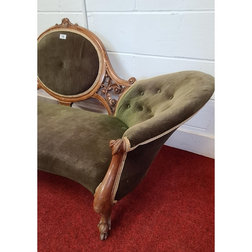 138 - Antique doubled ended cameo back settee floor to seat 35 cm, floor top of cameo 88 cm, length 210 cm