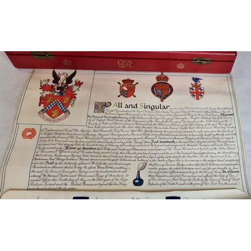 72 - Very rare scroll declaring the Knighthood of Sir Samuel Servington-Savery on 20th February 1937 toge...