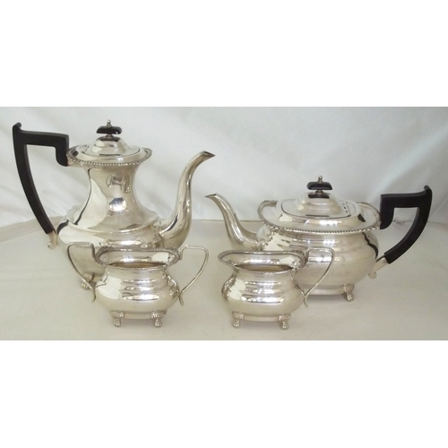 13 - Viners of Sheffield Silver Plate EPNS 4 Piece Tea Set Unused Condition. Early 20thc.  (4 Items)...