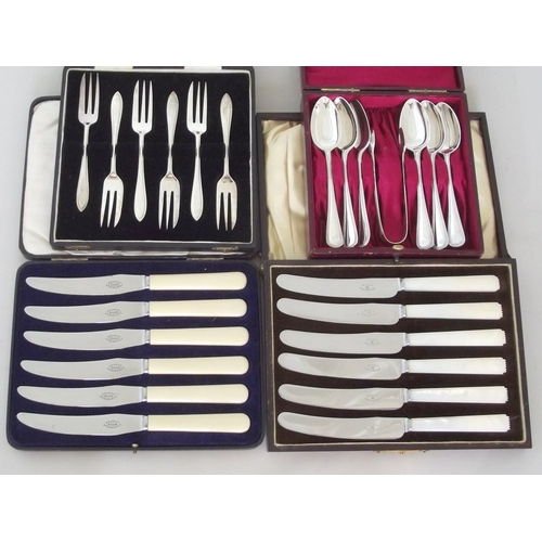 10 - Silver Plate EPNS Cased 6 x Teaspoons with Tongs.6 x Cake Forks. 6 x Mother of Pearl Handled Art Dec...