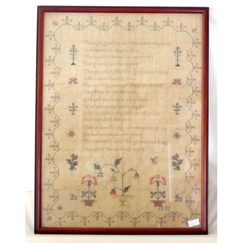 14 - Antique Late Georgian Needlework Sampler . Dated 1830. Mahogany Framed under glass.  33.5 x 44.5 cm...
