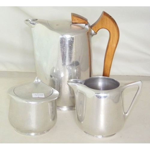 11 - Retro Picquot Ware Teapot, Cream Jug and Sugar Bowl (3 items)...