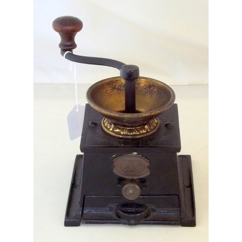 2 - Antique Cast Iron Coffee Grinder with Brass  Hopper & Label 'Awarded A Silver Medal in Paris in 1878...