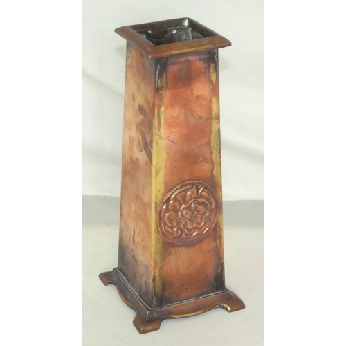 9 - Arts and Crafts Copper Vase of Tapered Square Form with Decorative Roundal on a Molded Bracket Base....