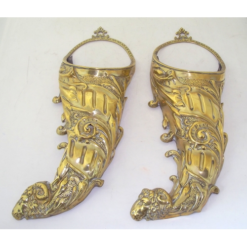 21 - 2 Antique Probably Dutch Large Brass Cornucopias. Circa 1900. The bases decorated with ram's heads. ...