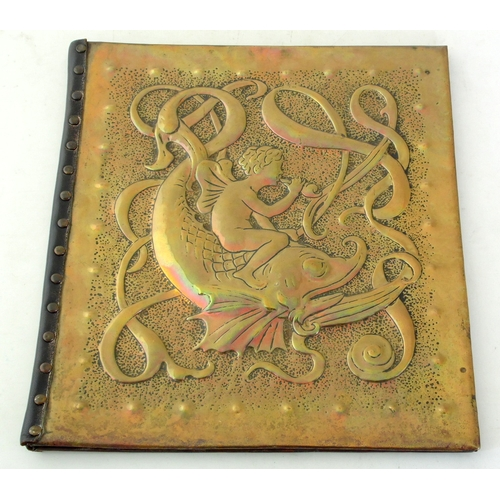 19 - Art Nouveau Brass Document Folder c.1900.  33.5 x 30cm...