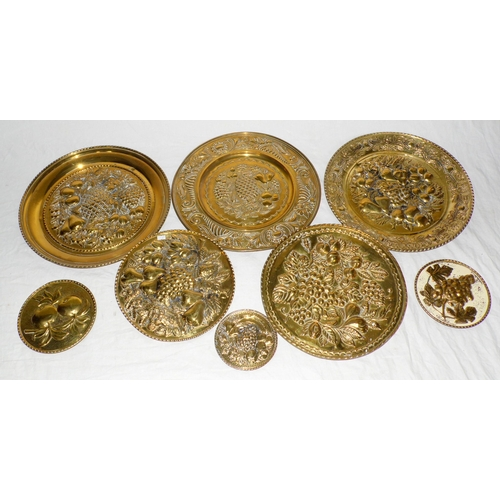 1 - Antique Brass Plaques x8 with Fruit Decoration. (8 items)...