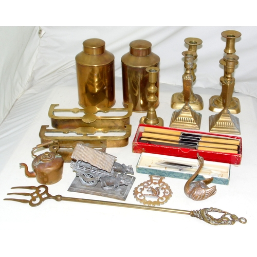 10 - Collection of Mainly Brass Items to Include: 2 x Tea Caddies,Toasting Fork,3 x Trivets,5 x Candlesti...
