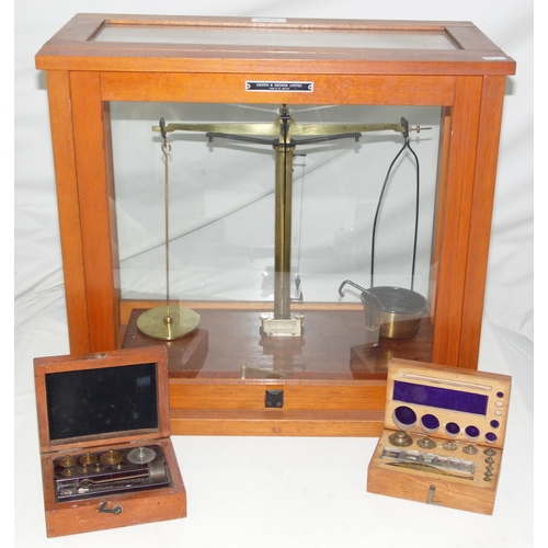 22 - A Set of 'Griffin & George Limited' Precision Balance Scales in a Glazed Case with 2 Sets of Cased W...