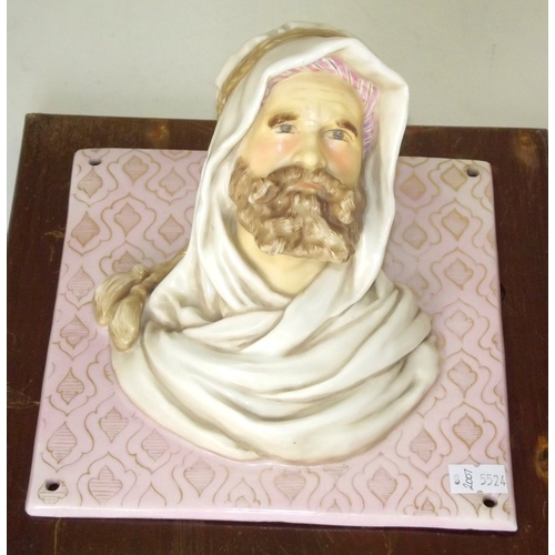 12 - Rare Pair of Continental (Boch Freres)? Porcelain Wall Busts x 2 of the 12 Apostles( Part of a set o...