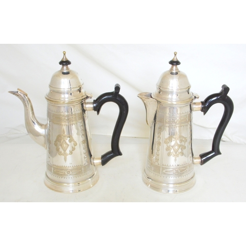 15 - Antique Silver Plate EPNS Engraved Coffee Pot & Matching Tea Pot with Hinged Covers. Circa 1900. Hei...