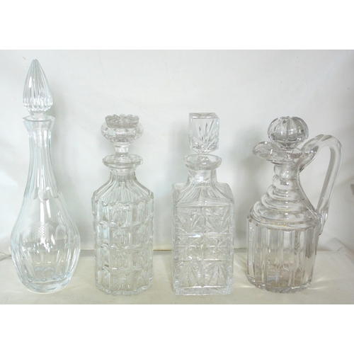 19 - Royal Brierley Cut Crystal Decanter with 3 others. (4 Items)...