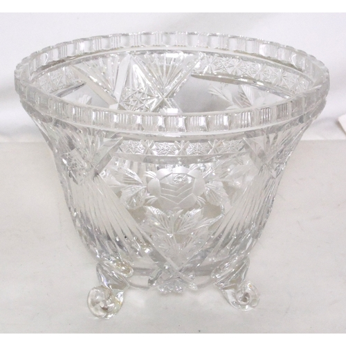 21 - Victorian Engraved Crystal Punch Bowl. Late 19thc. Superbly engraved with roses supported on 3 scrol...