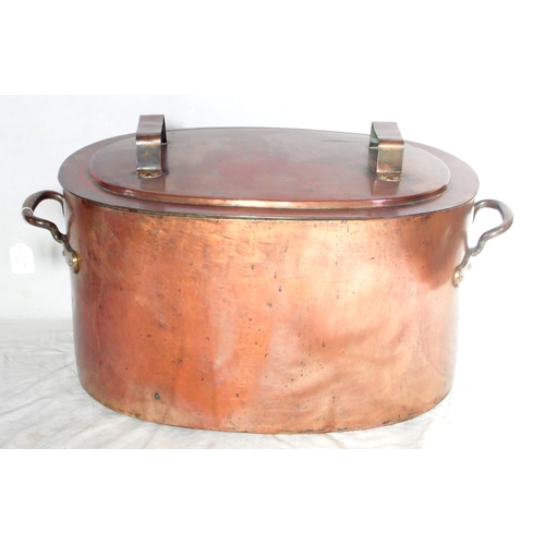 10 - Antique Large Oval Copper Cauldron/Cover.Possibly Military. Mid 19thc. The body constructed with dov...