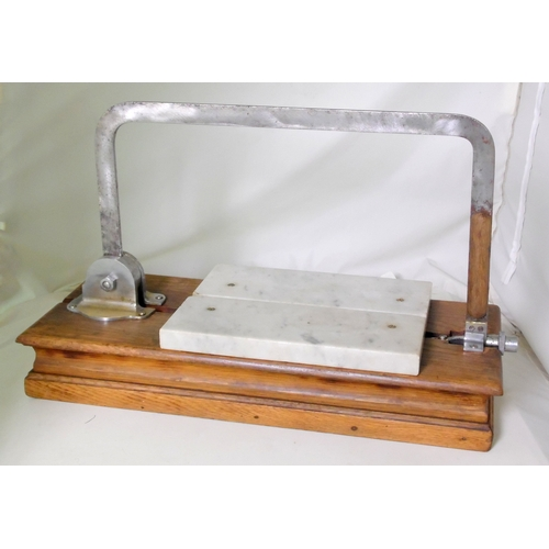 1 - Scarce Vintage 1920s Berry & Warmington Cheese Slicer on Oak Stand....