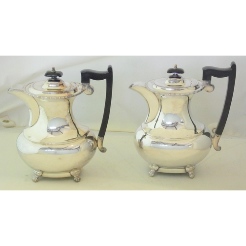 3 - A Pair of Viners Sheffield Silver Plate EPNS Coffee Pots. 20thc.  Height 9.25 inches. (2 Items)...