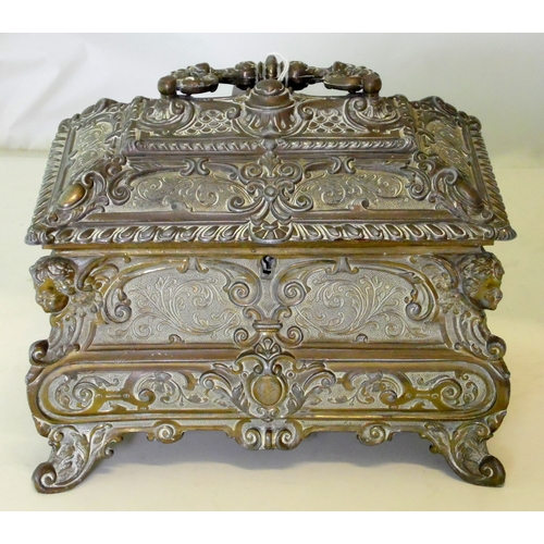 7 - Magnificent French Cast Gilt Metal Jewellery Casket. Early 1900s. Decorated with rococo motifs suppo...