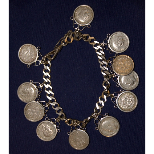 Silver Charm Bracelet Loaded With Scroll Encased Three Pence