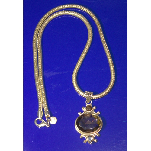 14 - Heavy Silver Snake Chain With Silver Smoky Quartz Style Pendant, Both Stamped 925, Chain Length 20 I...