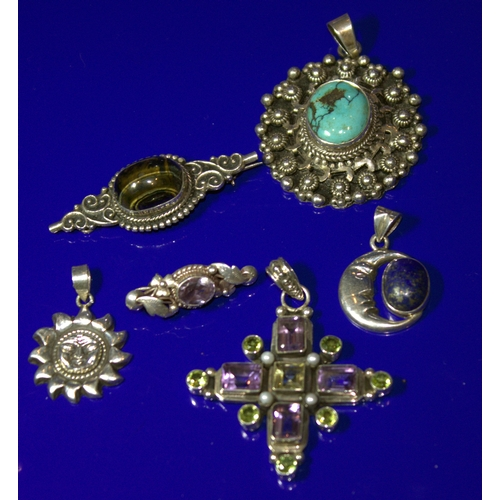 34 - Collection Of 6 Pieces Of Jewellery To Include A Silver Stone Set Cross Pendant, A Silver Lapis Set ...