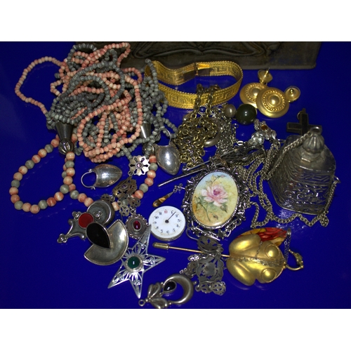 35 - Old Tin Containing A Mixed Lot Of Costume Jewellery, Beads Etc, Some Silver...