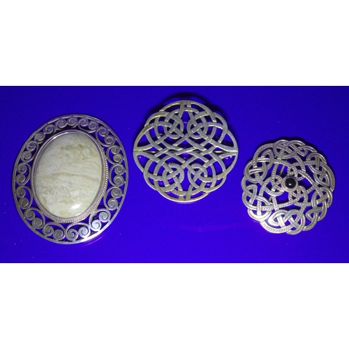 43 - Large Silver Celtic Knot Scottish Brooch, 45mm Diameter Together With 2 Other Stone Set Brooches...