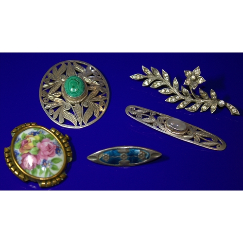 62 - Collection Of 5 Brooches To Include An Arts And Crafts Enamel Brooch, A Limoges Floral Painted Brooc...
