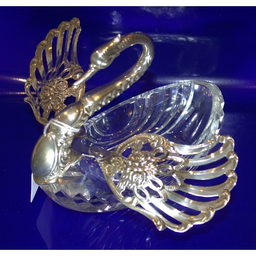 68 - Large Silver Swan Jewellery/Trinket Dish, Cut Crystal Base, Swivel Silver Wings And Silver Neck, Lon...