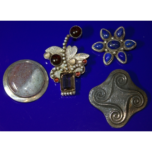 69 - Collection Of 4  Brooches, 3 Stamped 925...