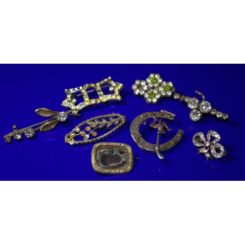 74 - Collection Of 8 Vintage Brooches To Include A Silver Horseshoe With Riding Crop And Gold Isle Of Man...