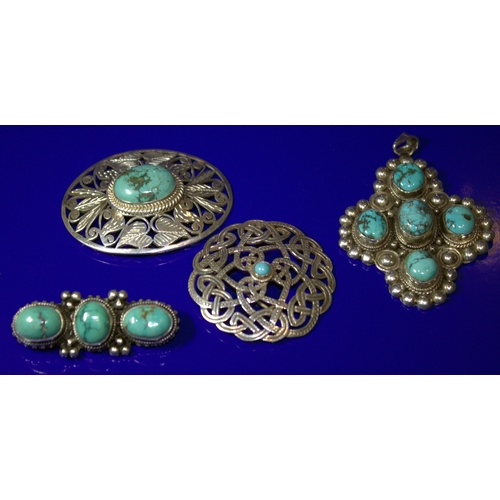 124 - Collection Of Turquoise Coloured Stone Set Jewellery To Include 3 Brooches And A Pendant...