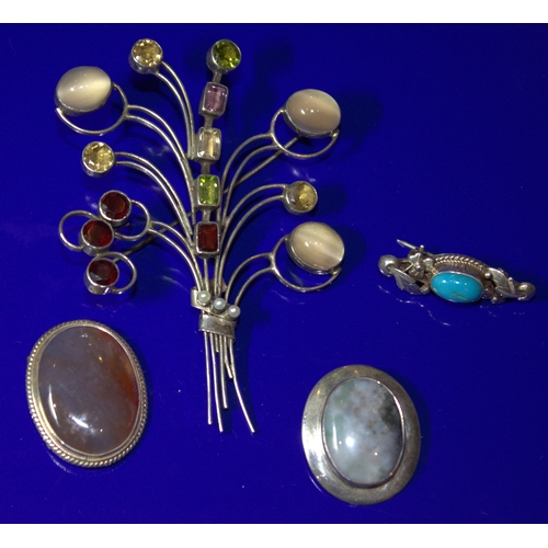 129 - A Large Silver Stone Set Brooch In The Form Of A Bouquet 8 x 5.5cm, Together With 3 Other Stone Set ...
